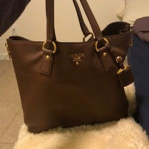 Large brown Prada shopper tote with gold hardware